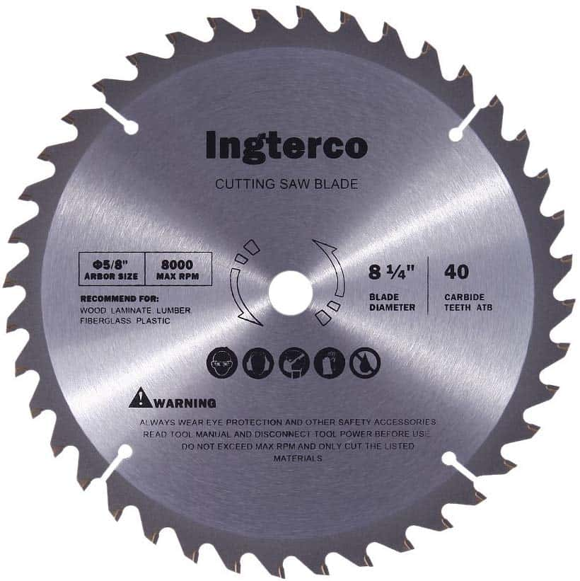 INGTERCO 8-1-4-Inch 40-Tooth ATB Thin Kerf Miter Saw Blade