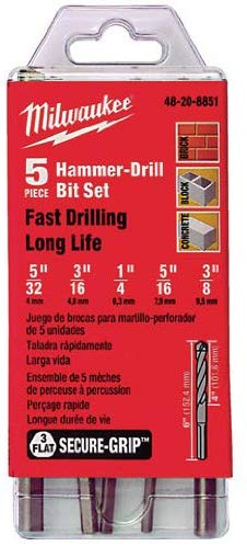Milwaukee 48-20-8851 5 Piece Hammer Drill Bit Set